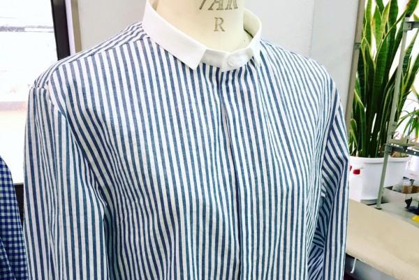 PHABLICxKAZUI 2016チビ衿クレリックシャツ比翼仕立て