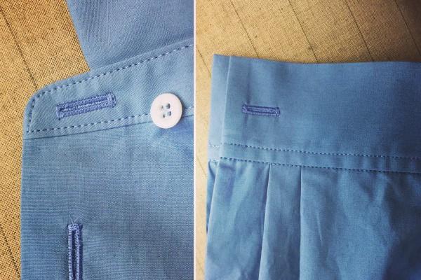 シャツのボタンホールのミシン目が山立てたパール縫い。糸はスパン糸ではなくフィラメント糸を使用しています